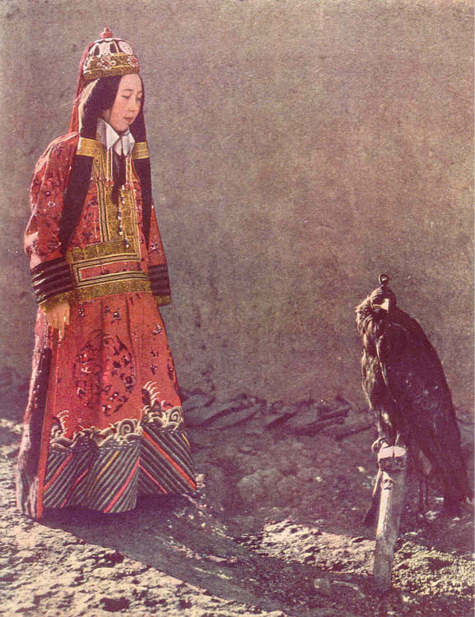 Princess Nirgidma with her hooded hunting eagle at Urumchi